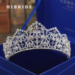 HIBRIDE Luxury Headband Noble AAA Cubic Zircon Crown And Tiaras For Bridal Shiny Hair Accessories Wedding <b>Jewelry</b> Gifts C-61