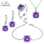 LAMOON Square Cut 100% Natural Purple Amethyst Jewelry Sets 925 Sterling <b>Silver</b> Ring+<b>Earrings</b>+Necklace+Bracelet For Women V001-1