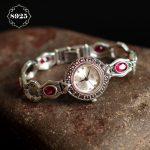 Limited Edition S925 Pure <b>Silver</b> Watch Ruby-Corundum Classical Lady Thai <b>Silver</b> <b>Bracelet</b> Thailand Process Rhinestone Bangle