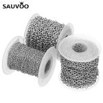 SAUVOO 10 Yard/lot Stainless Steel Chians 2.5mm 3mm 4mm Carved Cross Bulk Chain for Necklace Bracelet DIY <b>Jewelry</b> <b>Making</b> Finding