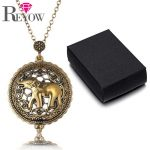 Womens Charms <b>Antique</b> Gold Elephant 5X Magnifier Glass Sliding Top Magnet Pendant Long Chain Necklace For Reading <b>Jewelry</b>