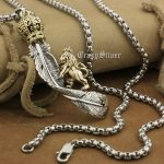 LINSION 925 Sterling <b>Silver</b> Huge Feather Brass Crown Lion Mens Biker Pendant 8A042 Stainless Steel <b>Necklace</b> 24″