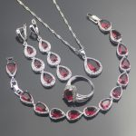 2018 Red Zircon 925 Sterling Silver <b>Jewelry</b> Sets Bridal Women Earrings With Stones Rings Pendants&Necklaces Bracelets Gift Box