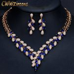 CWWZircons Nthiopian African Gold Earrings <b>Necklace</b> Wedding <b>Jewelry</b> Set Blue CZ Crystal Golden Jewellery Sets For Wedding T289