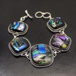 Amazing Party <b>Jewelry</b> Rainbow Dichroic Glass Vintage 925 Sterling Silver Chain Links Bracelet 19.5-21cm NY778 <b>Handmade</b> Charms