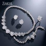 ZAKOL Classic Zirconia Wedding <b>Jewelry</b> Sets Flower Shaped 4 pcs <b>Jewelry</b> For Women Anniversary Party Show FSSP225