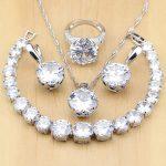 Natural 925 Silver Bridal <b>Jewelry</b> White Zircon <b>Jewelry</b> Sets For Women Wedding Earrings Pendant Necklace Rings Bracelet