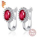 BELAWANG Luxury 100% 925 Sterling Silver Hoop Earrings For Women With Austrian Crystal <b>Fashion</b> Silver <b>Jewelry</b> Gift For Ladies
