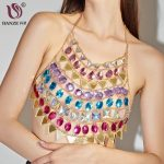 DANZE Sexy Colorful Crystal Stone Triangle String Bra Chest Body Chain For Women <b>Handmade</b> Summer Beach Body <b>Jewelry</b> Dropshipping