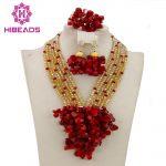 Free Shipping 2017 New Nigerian Wedding African Beads <b>Jewelry</b> Set Red/Gold Indian Bridal <b>Jewelry</b> Set WB437