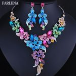 FARLENA Wedding <b>Jewelry</b> Multicolor Crystal Rhinestones Flower Necklace Earrings set for Women African Bridal <b>Jewelry</b> sets