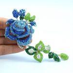 Rose <b>Jewelry</b> Women <b>Accessories</b> Rhinestone Crystals Blue Rose Flower Brooch Broach Pin 5.5″ 4228