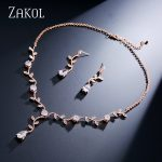 ZAKOL Classic Sliver Color/ Rose Gold Color Cubic Zirconia Gift For Women <b>Jewelry</b> Sets With Elegant Plant Bijoux FSSP233