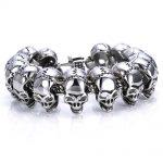 Heavy Vintage 316l Stainless Steel Mens Large Skull <b>Bracelets</b> <b>Silver</b> Color Biker Chain <b>Bracelet</b> Punk Gothic Jewelry