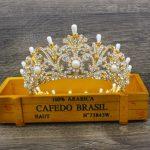 Luxurious Gold/Silver Pearl Bridal Tiara Crown Headpiece Women Bride Diadem Hair Ornaments <b>Wedding</b> Hair <b>Jewelry</b> Accessories