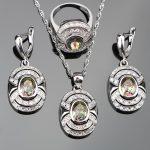 2018 Magic Rainbow Stones 925 Silver <b>Jewelry</b> Sets Women Wedding Zircon Earrings Rings Pendants&Necklaces Set jewelery Gift Box