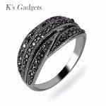 K'S Gadgets <b>Antique</b> Silver Color Vintage Black Vintage Rhinestone Rings For Women Fashion <b>Jewelry</b> Retro Ring
