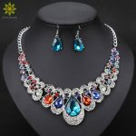 Fashion Indian Jewellery Colorful Crystal Necklace Earrings Bridal <b>Jewelry</b> Sets For Brides Party Wedding <b>Accessories</b> Decoration