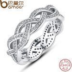 BAMOER Authentic 925 Sterling Silver Sparkling BRAIDED Pave RING for Women Wedding Luxury Exaggerated Big Twisted <b>Jewelry</b> PA7111