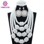 New Design Nigerian Wedding African Beads <b>Jewelry</b> Set <b>Handmade</b> Beads Women Costume Fashion Necklace Set Hot Free Shipping ABL525