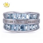 Hutang Stone <b>Jewelry</b> Natural Aquamarine Gemstone & Diamond Accents Solid 925 <b>Sterling</b> <b>Silver</b> Rings For Women Luxury Fine <b>Jewelry</b>