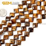 Gem-inside Natural Flat Square Yellow Tiger Eye Beads For <b>Jewelry</b> <b>Making</b> 10-20mm 15inches DIY Jewellery