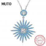 MUTO 925 Sterling <b>Silver</b> White & Rose Color Exquisite Big Flower Pendant <b>Necklaces</b> for Women Blue CZ Fine Jewelry SVXL7060