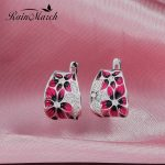RainMarch Enamel Flower Silver Earrings For Women Engagement 100% 925 Sterling Silver Earring <b>Handmade</b> Enamel Party <b>Jewelry</b>