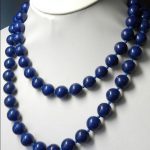 Wedding silver <b>jewelry</b> 8mm Blue Lapis Lazuli Necklace Rope Chain Beads <b>Jewelry</b> <b>Making</b> Design Natural Stone Women 90CM