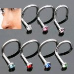 10Pcs Nose Piercing <b>Jewellery</b> Stainless Steel Nose Stud Bone Pin Ring Body Piercing Crystal Nostril Bending <b>Decoration</b>