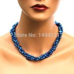 Wholesale Pearl <b>Jewelry</b> – Dark Midnight Royal Blue 3 Strands Genuine Freshwater Pearl Necklace Earrings – <b>Handmade</b> <b>Jewelry</b> Set