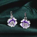 RainMarch Bohemian Silver Enamel Stud Earrings For Women Engagement 925 Sterling Silver Earring Flower <b>Handmade</b> enamel <b>Jewelry</b>