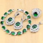 925 Sterling <b>Silver</b> Jewelry Green Created Emerald White Zircon Jewelry Sets Women Earrings/Pendant/Necklace/Rings/<b>Bracelet</b> T203