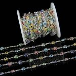 6-7mm Colourful Glass Eye Shape Flat Round Beads Chains DIY Necklace,Plated Silver Wire Wrapped Rosary Chain <b>Jewelry</b> <b>Supplies</b>