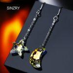 SINZRY trendy <b>Jewelry</b> DIY <b>handmade</b> dangle crystal earrings 925 sterling silver Austria crystal new moon star earrings for women