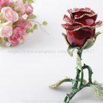Red Rose Valentine <b>Jewelry</b> Ring Earring Trinket Gift Box Case Red Rose Large Ring Box Single Rose Keepsake Trinket Box Figurine