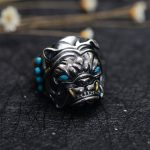 MetJakt Vintage Thai <b>Silver</b> Bulldog Ring with Natural Turquoise Solid 925 <b>Sterling</b> <b>Silver</b> Open Ring for Men's Punk <b>Jewelry</b>
