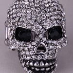 Skull skeleton brooch pin women girls biker bling <b>jewelry</b> gifts <b>antique</b> gold silver color W crystal BD07 wholesale dropship