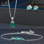 LAMOON New Square Cut Green Agate Chalcedony 925-Sterling-<b>Silver</b> Jewelry Sets 3PCS S925 Fine Jewellery for Women Wedding V008-3