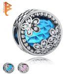 BELAWANG 925 Sterling Silver Beads Daisy Flower Blue Crystal Charm Fit Original BW Charms Bracelet DIY <b>Jewelry</b> <b>Making</b> 2017
