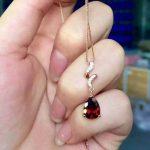 natural red garnet stone pendant 925 Sterling <b>silver</b> Natural gemstone Pendant Necklace trendy Elegant waves women girl <b>jewelry</b>