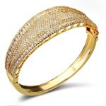 European and American Style Women Gold Bangles AAA Cubic Zirconia Lead Free Gold Color & White Color <b>Wedding</b> <b>Jewelry</b>