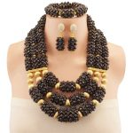 Handmade Copper 2018 Nigerian <b>Wedding</b> African Beads <b>Jewelry</b> Set Black Crystal Beads Necklace <b>Jewelry</b> Set Free Shipping