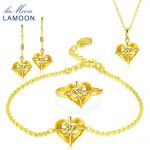 LAMOON 2018 Real 925-Sterling-<b>Silver</b> Natural Yellow Citrine 4PCS Jewelry Sets S925 Fine Jewelry for Women Wedding Gift V028-1