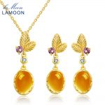 LAMOON Amber 925 Sterling <b>Silver</b> Jewelry Sets Classic Flower 100% Natural Yellow Citrine Yellow Women's Plants Jewelry Set New