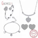 GNIMEGIL New 925 Sterling <b>Silver</b> Wedding Jewelry Set with Heart pendant, Cubic Zircon <b>Bracelet</b>/Necklace/Earring/Opening Ring Set