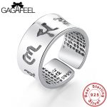 GAGAFEEL Vintage S999 Thai Sterling Silver Rings for Men Women Fashion Cool Open <b>Jewelry</b> Six Words Of Mantra Ring Charm Dropship