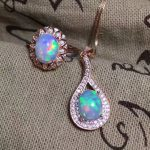 Royal design opal ring and pendant jewelry set 7mm*9mm natural opal jewelry fashion solid 925 <b>silver</b> opal ring opal pendant set