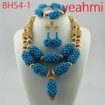 African Beads Jewelry Set for Women Fashion <b>Silver</b>/Gold Jewelry Accessory Nigerian Wedding Beads Set Necklace Set BH54-2