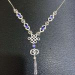 Natural blue tanzanite tourmaline <b>Necklace</b> natural gemstone Pendant <b>Necklace</b> S925 <b>silver</b> trendy Chinese knot women party Jewelry
